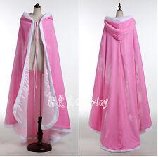 Women Pleuche Hooded Cloak Adult Halloween Princess Witch Gothic Medieval Velvet