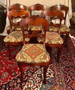 Set of Six American Victorian Crotch Mahogany Dining Chairs ca 1850-1870