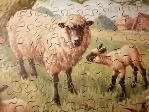 VINTAGE VICTORY WOODEN JIGSAW PUZZLE FOR JUNIOR DEPICTING SHEEP LAMBS 96 PIECES