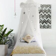 Girls White Feather Boa Hoop Canopy Sheer Netting Stars Twin Full Princess Bed