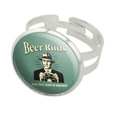 Beer Runs Does That Count as Excercise Silver Plated Adjustable Novelty Ring