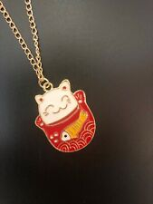 Kawaii funky Maneki Neko Lucky Cat koinobori Japan Quirky Carp banner necklace