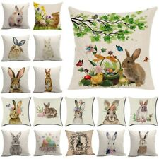 Spring Easter Animals Rabbit Printed Linen Pillow Case Cushion Cover Home Decor