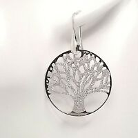 925 sterling silver tree of life earrings sparkly glitter dangling drop style