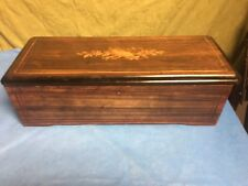 "Antique 10 Song Cylinder Music Box. 20"" + Long. (Big). Marquetry. Works. 1800s"