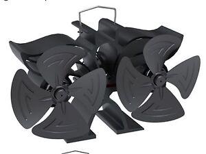 14cm mini 8 Blade heat powered stove/log burner fan twin blade twin motor fan