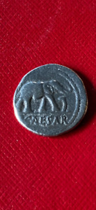 Julius Caesar AR Denarius Silver Elephant Coin struck C. 49BC.