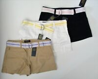 NWT Ralph Lauren Polo Girls' Belted Cotton Chino Shorts 7 8 10 12 14 16 NEW $40