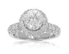 3.10 ct Ladies Round Diamond Engagement Ring in 18 kt Gold Prong Set Mounting