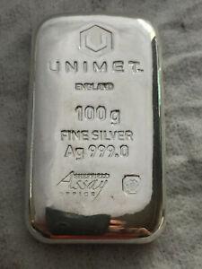 10x Unimet 100g Fine Silver Ag 999.0 Cast Bar  £89 each