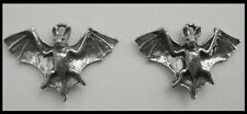 PEWTER CHARM #270 x 2 BAT 25mm x 18mm bats 3D design
