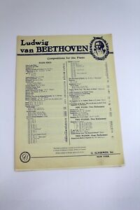 Vintage Piano Sheet Music Beethoven 7 Bagatelles No. 1 in E Schirmer
