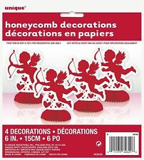 Mini Honeycomb Cupid Valentines Decorations Celebrations Pack of 4