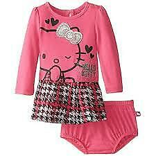 Hello Kitty Girls Houndstooth Dress with Panty, Pink 6-9M