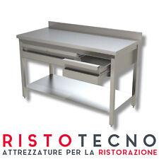 Tavolo inox con ripiano, alzatina  e cassettiera in linea  Dim.cm. 150x60x85H.