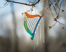 Wind Chimes Harp with Mermaid Suncatcher Stained Glass Music Teacher Gift