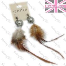 "6""long WILD FEATHER EARRINGS antique silver pltd BOHO DISC bird fluffy feathers"