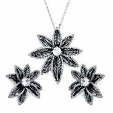 Cubic Zirconia CZ .925 Sterling Silver Flower Necklace Pendant Earrings Jewelry