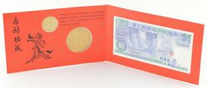 1990 Singapore Year Of The Horse Collectible Booklet 2 Coins & $1 Banknote *696