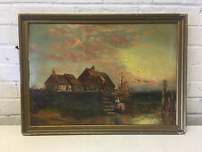 Antique 1896 Possibly Adolf Kaufmann Oil on Canvas Painting w/ Figures by Houses