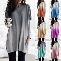 ❤️Women Long Sleeve Pocket Jumper Tunic Tops Ladies Casual Loose Pullover Blouse