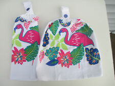 2 Hanging Kitchen Dish Towels With Crochet Tops Pink Flamingo