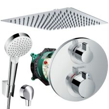 Unterputz Duschsystem mit Kopfbrause 300x300, Hansgrohe Ecostat S Thermostat Bad