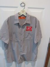 Miller Beer Delivery Driver Shirt Gray Men'S Size Large Red Kap Brewery Patches