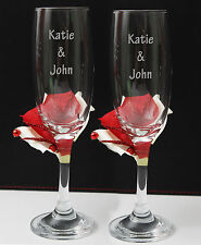 Valentines day idea.Set of 2.Personalised hand decorated Champage glass by jevge