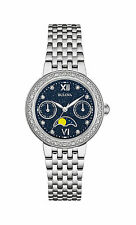 New Bulova 96R210 Diamond Dial/Bezel Moon Phase Stainless Steel Ladies Watch