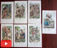 African ethnography native types 1836 scarce Dutch prints lot of 7 hand color
