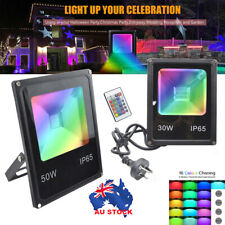 LED Flood light 30W 50W RGB Floodlight Color Changing Remote Control AU Pulg