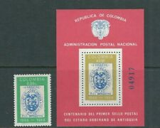 COLOMBIA 1968 CENTENARY of POSTAGE STAMPS (Scott 784-785) VF MNH/MLH