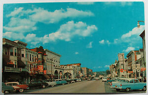 Vintage Stroudsburg Pennsylvania Main Street View Postcard Cars and Signs
