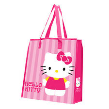 18273 Hello Kitty™Stripes Large Recycled Shopper Tote grocery bag Pink Cartoon