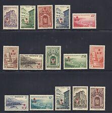 MONACO 1940 semi-postals Scott B36-50 overprints VF MNH