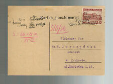 1939 Poland Postcard Cover to Krakow Attorney Pan Wielmozny