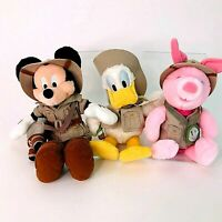 Walt Disney World - Safari Donald Duck Mickey Mouse Piglet Plush Soft Toys Rare