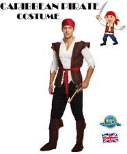 MENS CARIBBEAN PIRATE COSTUME Gents Fancy Dress Halloween Dress Up Outfit