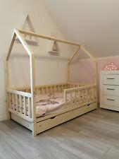 Kinderbett Hausbett Rausfallschutz Lattenrost Natur Kinderhaus Schublade