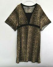 New Directions Women's 3X Short Sleeve V-Neck Dress Stretch Leopard Cheetah