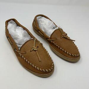 Minnetonka Women Leather Moccasin 7 1/2 Tan Slip On Slipper Shoe Soft Casual 7.5