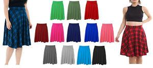 Women Plain Knee Length Ladies Soft Ponty Flared Short Skater Midi Skirt 12-26