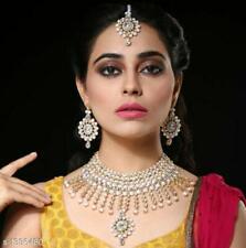 Indische Steinperlen Halskette 3 PC Hochzeitsfeier Modeschmuck Kostüm Set