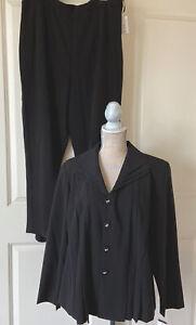 NWT Danny & Nicole Women's Black 3 Piece Pant Suit Sleeveless Blouse Top Sz 16W