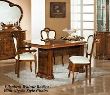 Elizabeth Italian Walnut Radica Dining Table and 6 Chairs Italian Made Furniture