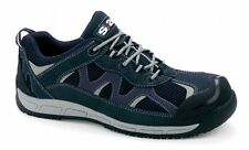 NEW MENS NAVY SUEDE LIGHT WEIGHT  SAFETY COMPOSITE TOE CAP TRAINERS/ SIZE 10/44.