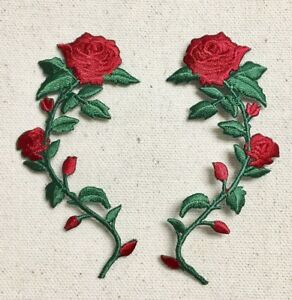 (SET 2)Large Red Rose Vine/Stem LEFT/RIGHT Iron on Applique/Embroidered Patch