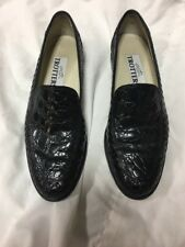 Trotters Loafers Shoes Women Leather Woven Black Sz 6 Narrow