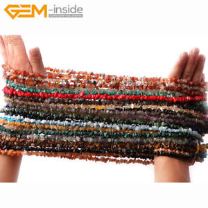 """5-8mm Freeform Gemstone Nugget Chips Loose Beads For Jewellery Making 34"""" UK"""